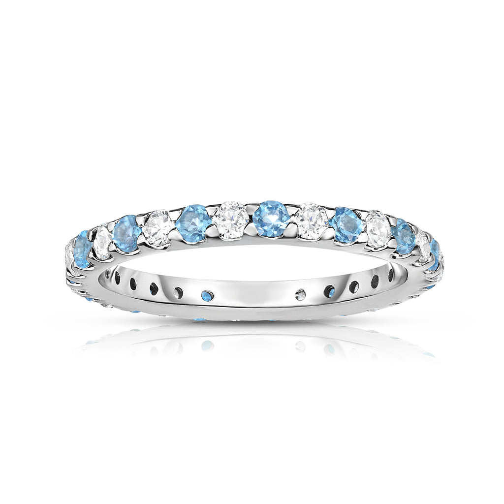 14K White Gold Swiss Blue Topaz & Diamond (0.90 Ct-1.00 Ct, SI2-I1 Clarity) Eternity Ring