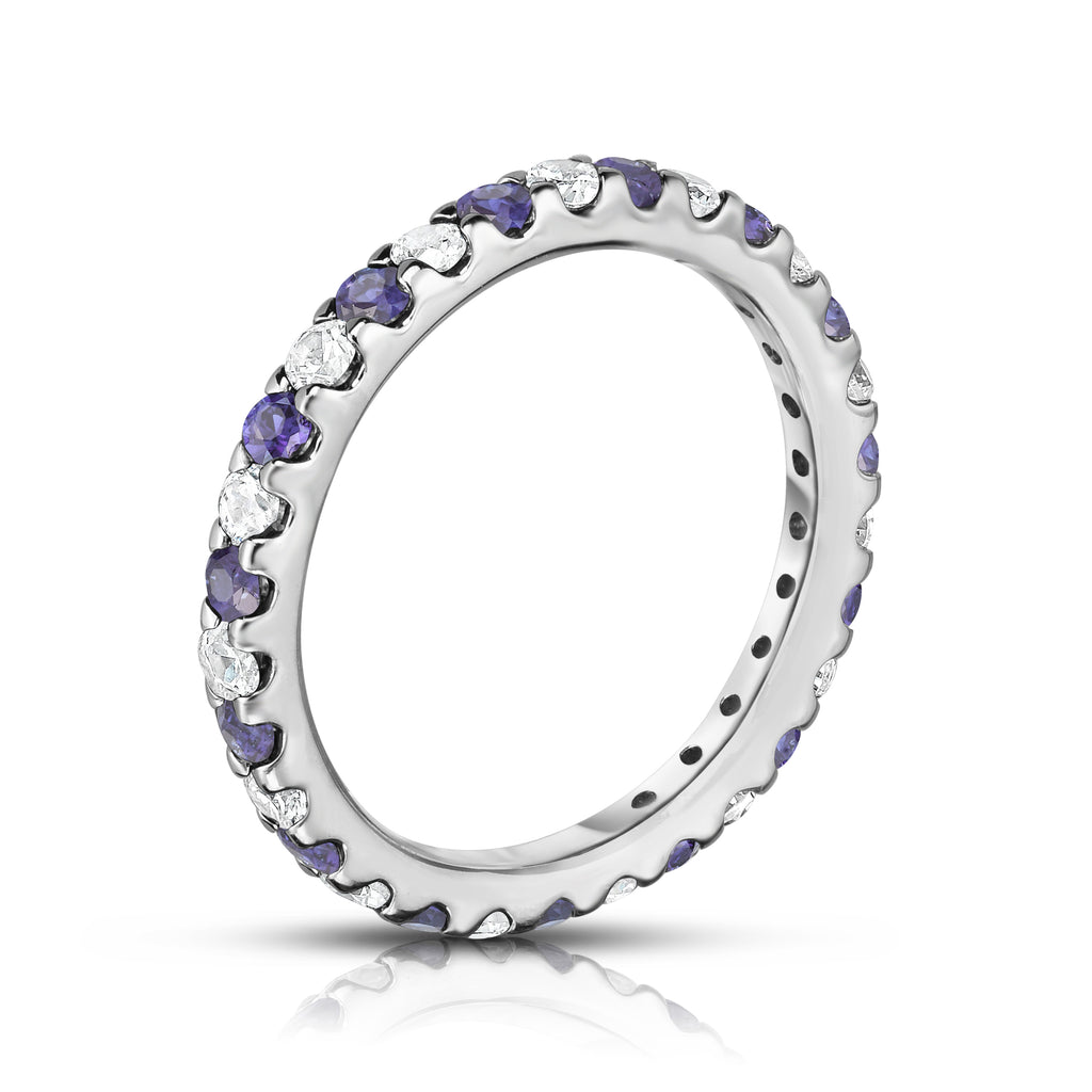 14K White Gold Tanzanite & Diamond (0.90 Ct-1.00 Ct, SI2-I1 Clarity) Eternity Ring