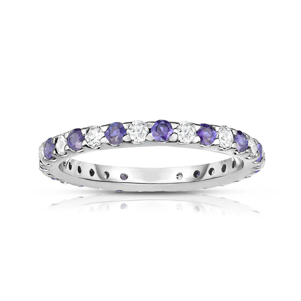 14K White Gold Amethyst & Diamond (0.90 Ct-1.00 Ct, SI2-I1 Clarity) Eternity Ring