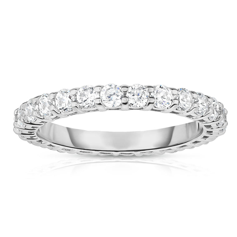 14K White Gold Diamond (1.30-1.50 Ct, G-H Color, SI2-I1 Clarity) Eternity Ring
