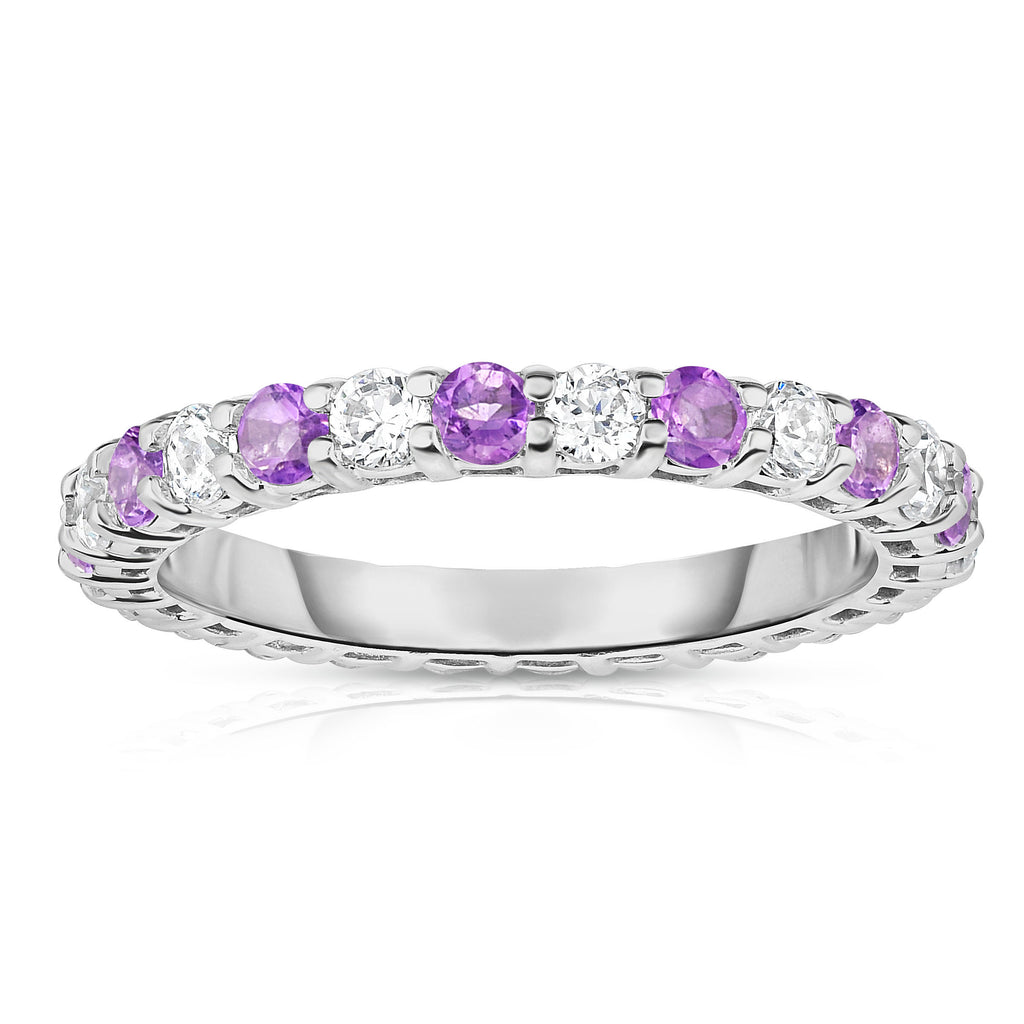 14K White Gold Amethyst & Diamond (1.30-1.50 Ct TW, SI2-I1 Clarity) Eternity Ring
