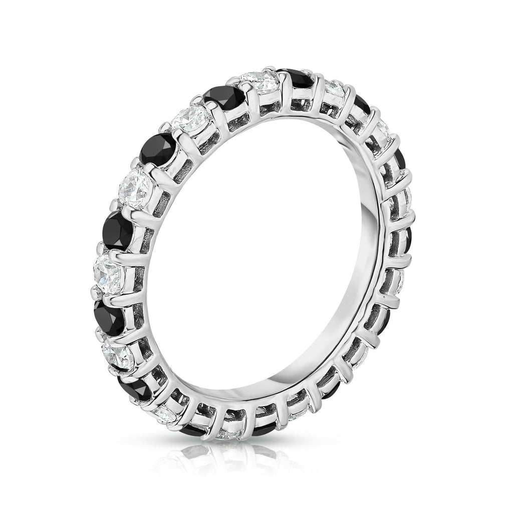 14K White Gold Black & White Diamond (1.30-1.50 Ct TW, SI2-I1 Clarity) Eternity Ring