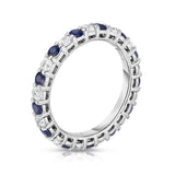 14K White Gold Blue Sapphire & Diamond (1.30-1.50 Ct TW, SI2-I1 Clarity) Eternity Ring