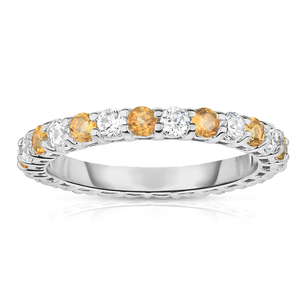 14K White Gold Citrine & Diamond (1.30-1.50 Ct TW, SI2-I1 Clarity) Eternity Ring