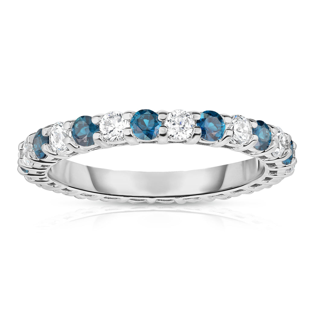 14K White Gold London Blue Topaz & Diamond (1.30-1.50 Ct TW, SI2-I1 Clarity) Eternity Ring