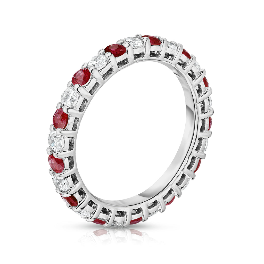 14K White Gold Ruby & Diamond (1.30-1.50 Ct TW, SI2-I1 Clarity) Eternity Ring