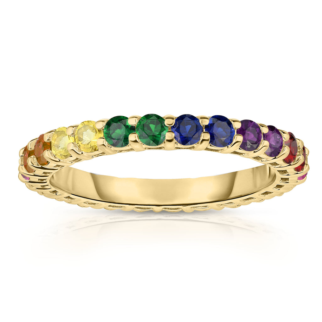 14K Gold Rainbow Multicolor Sapphire Eternity Ring
