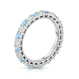 14K White Gold Swiss Blue Topaz & Diamond (1.30-1.50 Ct TW, SI2-I1 Clarity) Eternity Ring