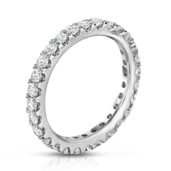 14K White Gold Diamond (1.35 Ct - 1.40 Ct, G-H Color, SI2-I1 Clarity) Eternity Ring