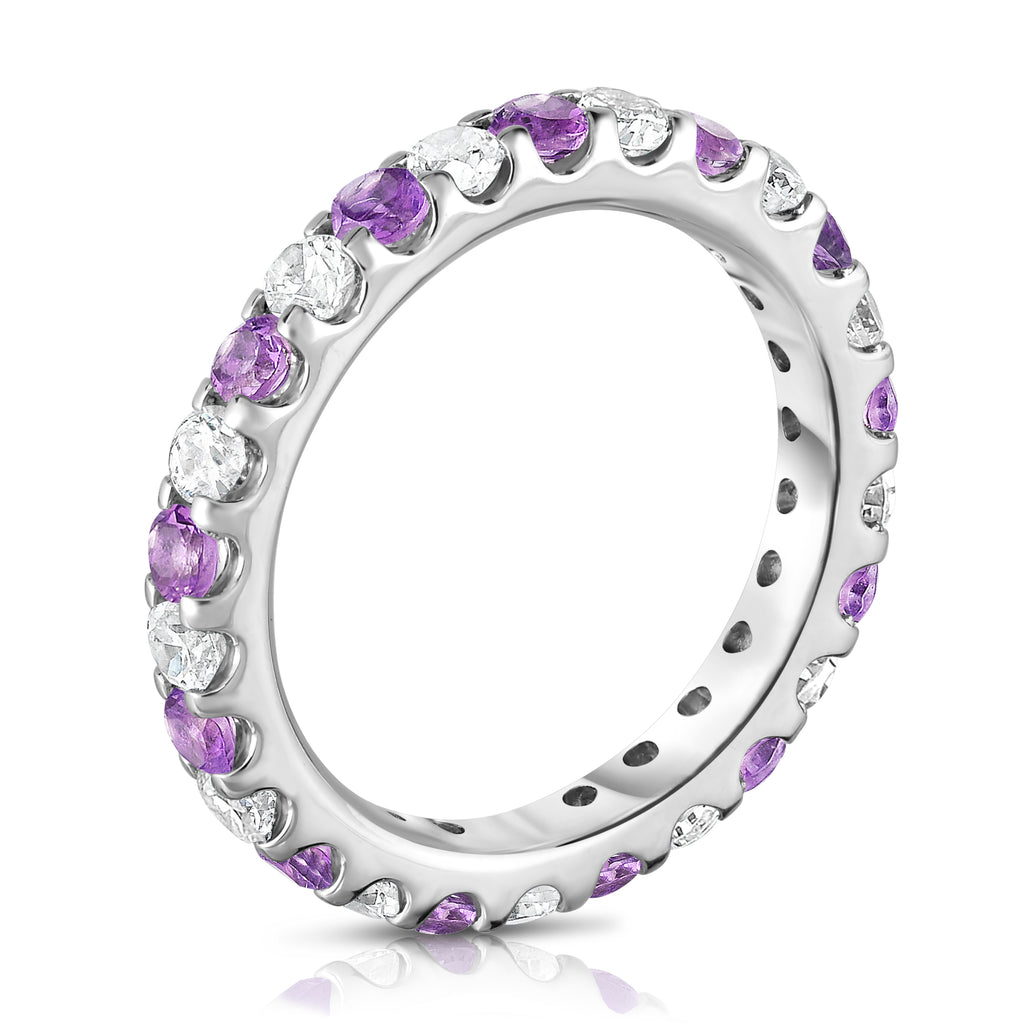 14K White Gold Amethyst & Diamond (1.20-1.40 Ct TW, SI2-I1 Clarity) Eternity Ring