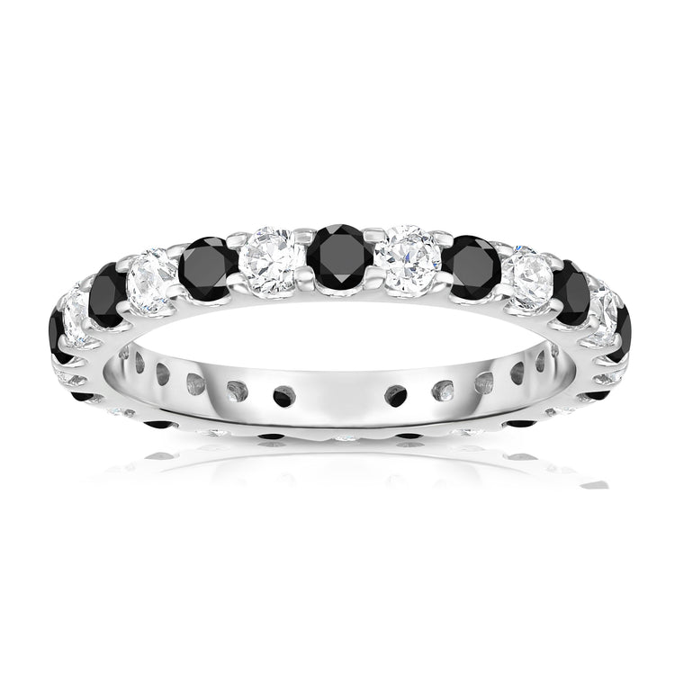 14K White Gold Black & White Diamond (1.20-1.40 Ct TW, SI2-I1 Clarity) Eternity Ring