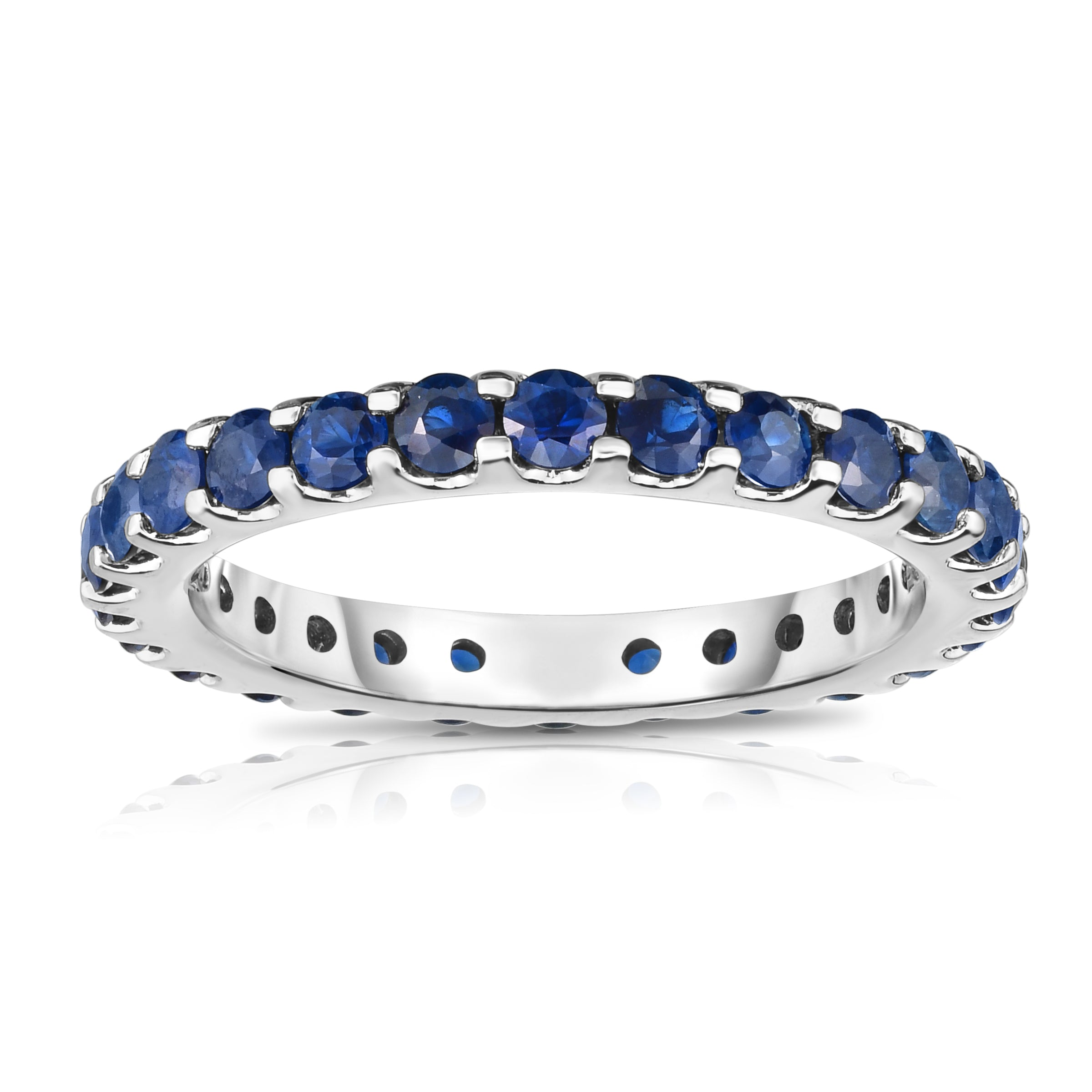 product band alternating diamond and sapphire bands blue eternity