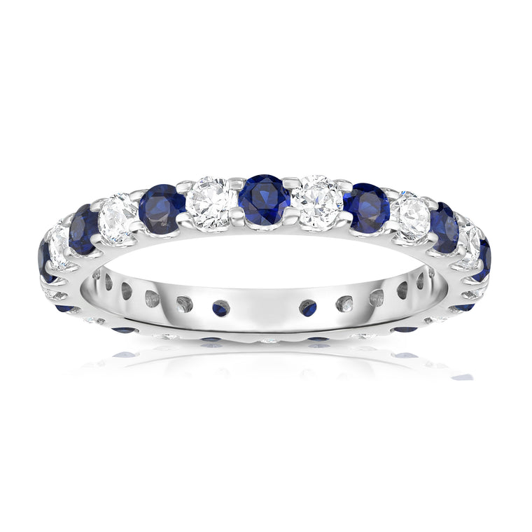 14K White Gold Blue Sapphire & Diamond (1.20-1.40 Ct TW, SI2-I1 Clarity) Eternity Ring