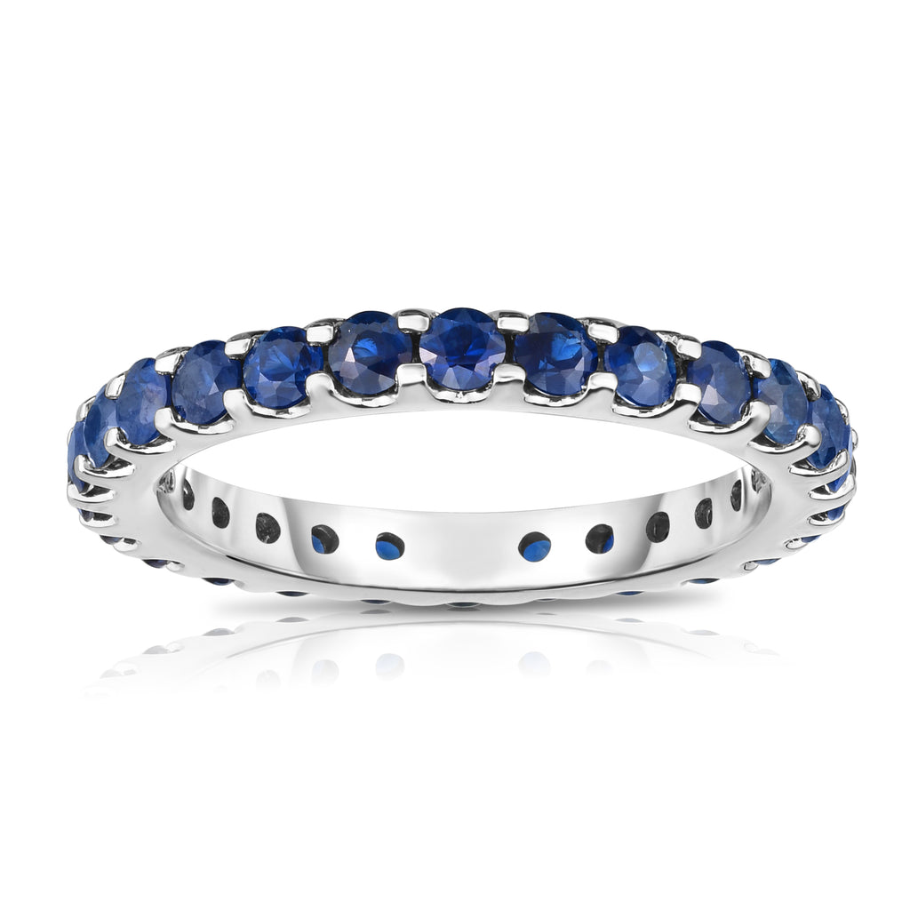 14K White Gold Blue Sapphire Eternity Ring (1.50 cttw)