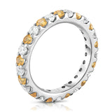 14K White Gold Citrine & Diamond (1.20-1.40 Ct TW, SI2-I1 Clarity) Eternity Ring