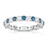 14K White Gold London Blue Topaz & Diamond (1.20-1.40 Ct TW, SI2-I1 Clarity) Eternity Ring