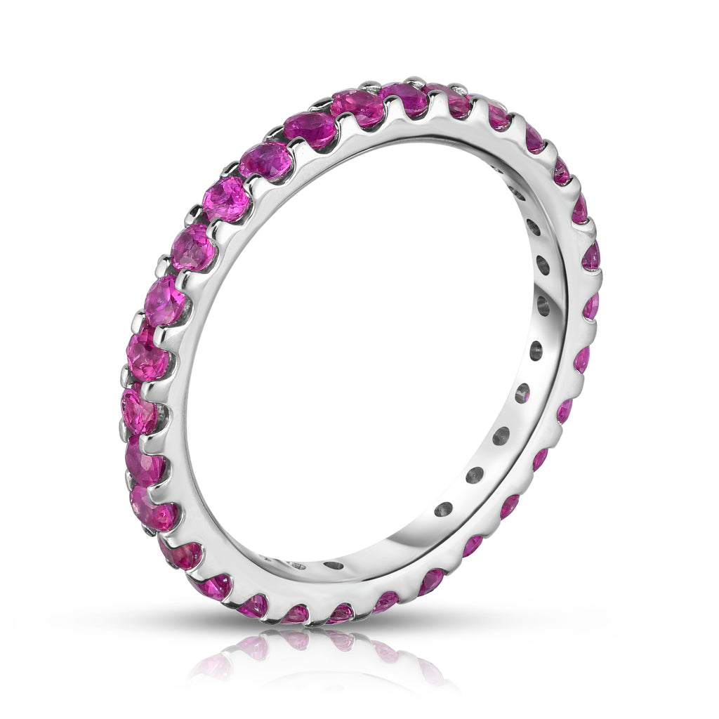 14K White Gold Pink Sapphire Eternity Ring (1.50 cttw)