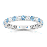 14K White Gold Swiss Blue Topaz & Diamond (1.20-1.40 Ct TW, SI2-I1 Clarity) Eternity Ring