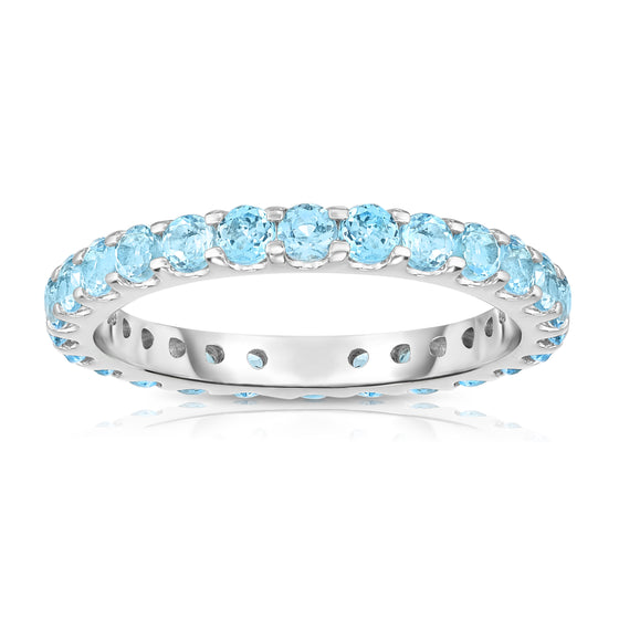 14K White Gold Gemstone Eternity Ring (1.35 cttw)
