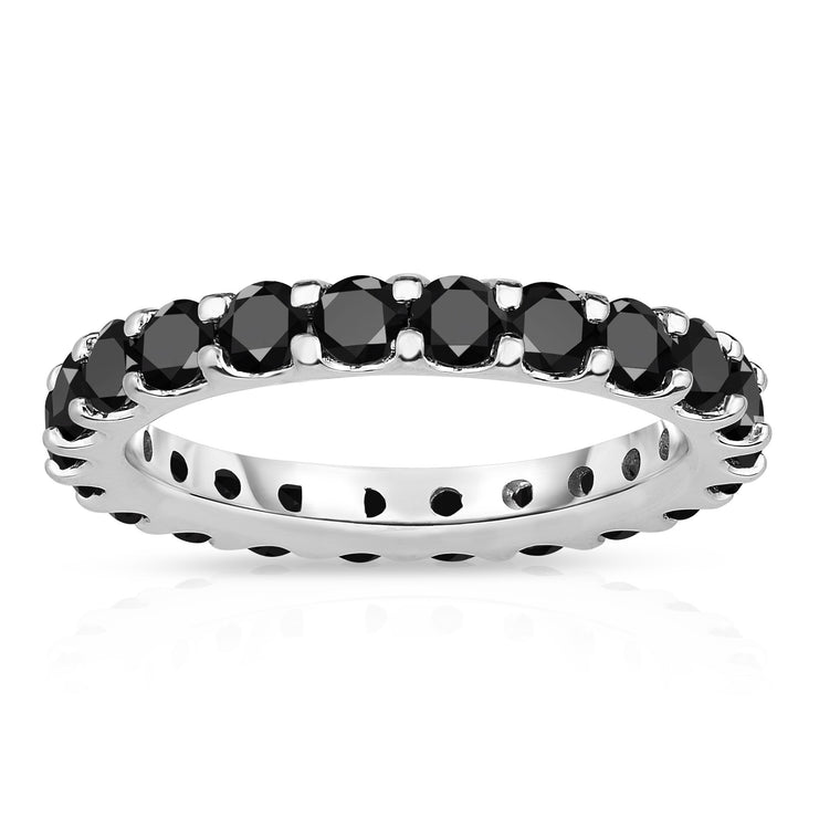 14K White Gold Black Diamond Eternity Band (2.00-2.40 cttw)