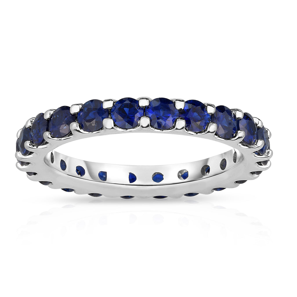 14K White Gold Blue Sapphire Eternity Ring (2.50 cttw)