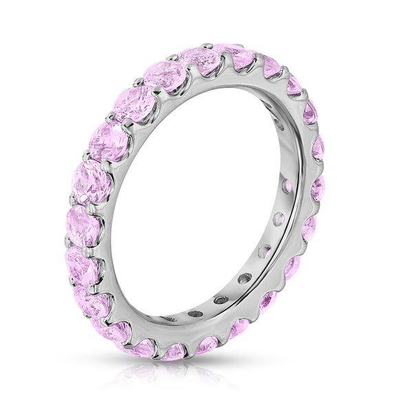 Sterling Silver Pink Sapphire Eternity Ring (2.80 cttw)