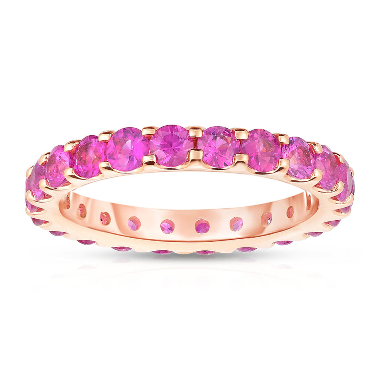 14K Rose Gold Pink Sapphire Eternity Ring (2.50 cttw)