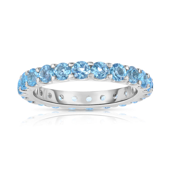 Sterling Silver Round-Cut Blue Topaz Eternity Ring (2 cttw)