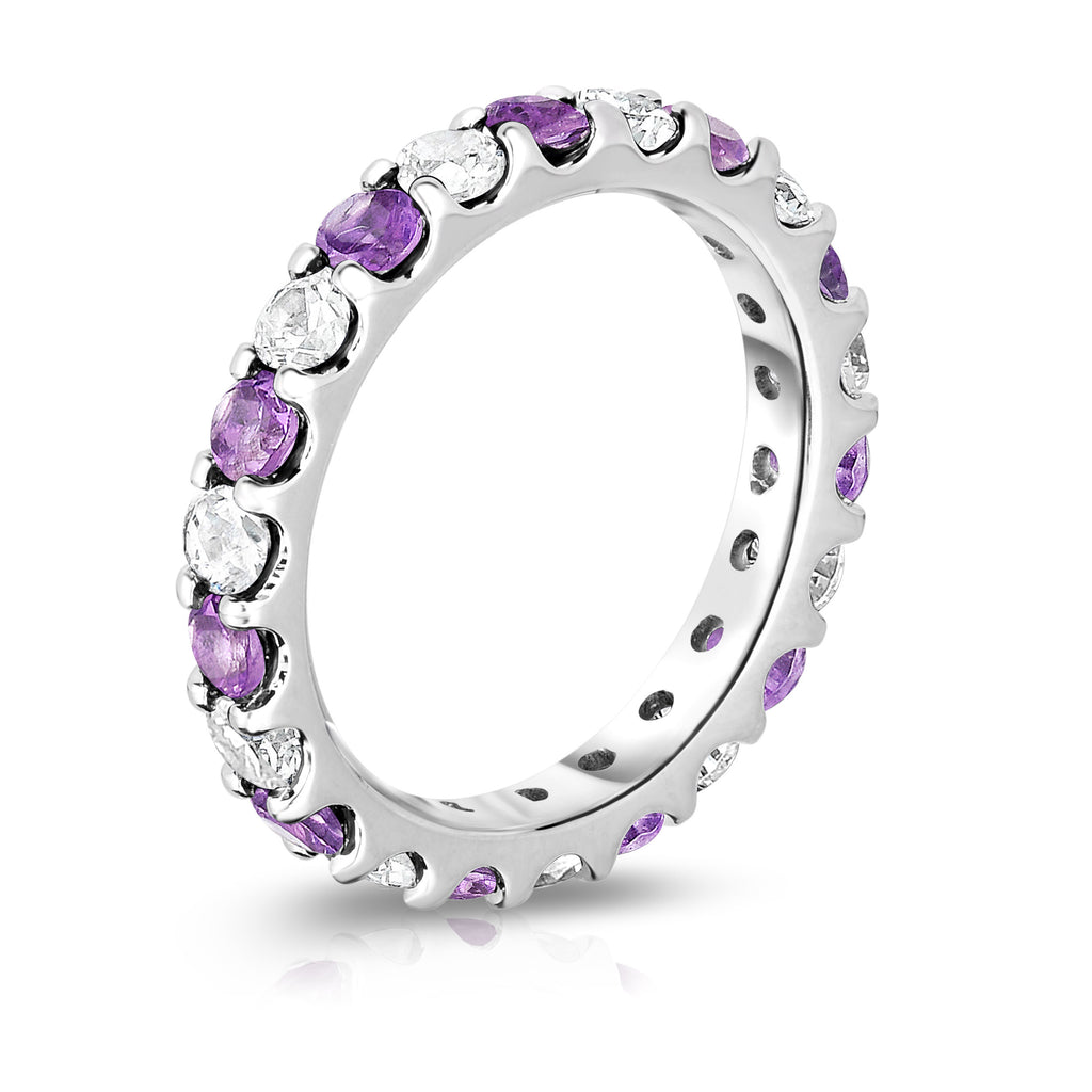 14K White Gold Amethyst & Diamond (2.00-2.40 Ct TW, SI2-I1 Clarity) Eternity Band