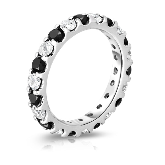 14K White Gold Black & White Diamond (2.00-2.40 Ct TW, SI2-I1 Clarity) Eternity Band
