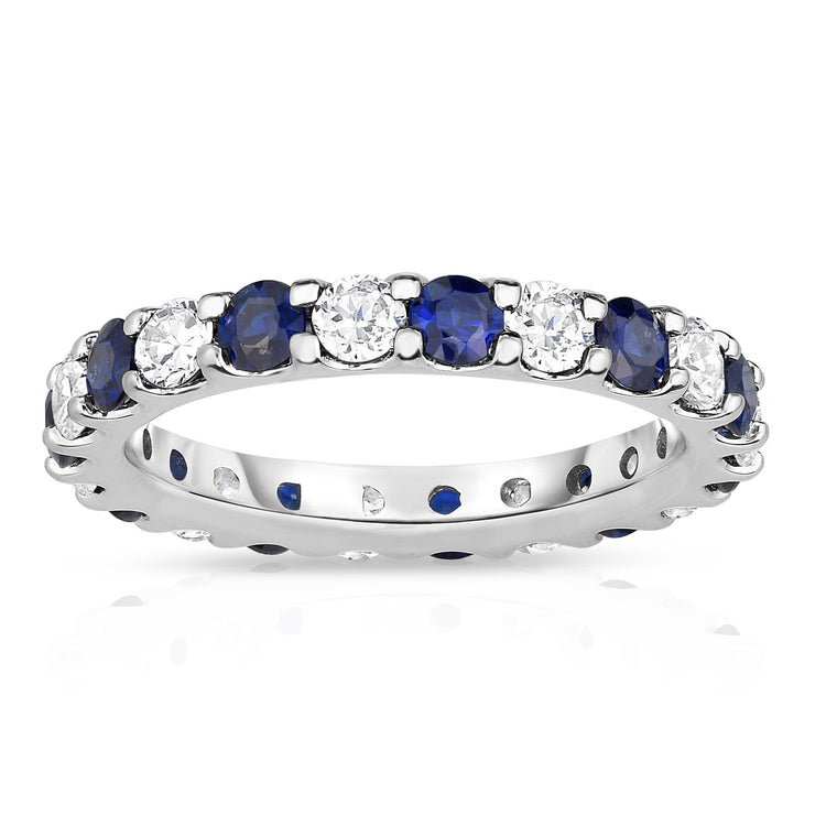 14K White Gold Blue Sapphire & Diamond (2.00-2.40 Ct TW, SI2-I1 Clarity) Eternity Band