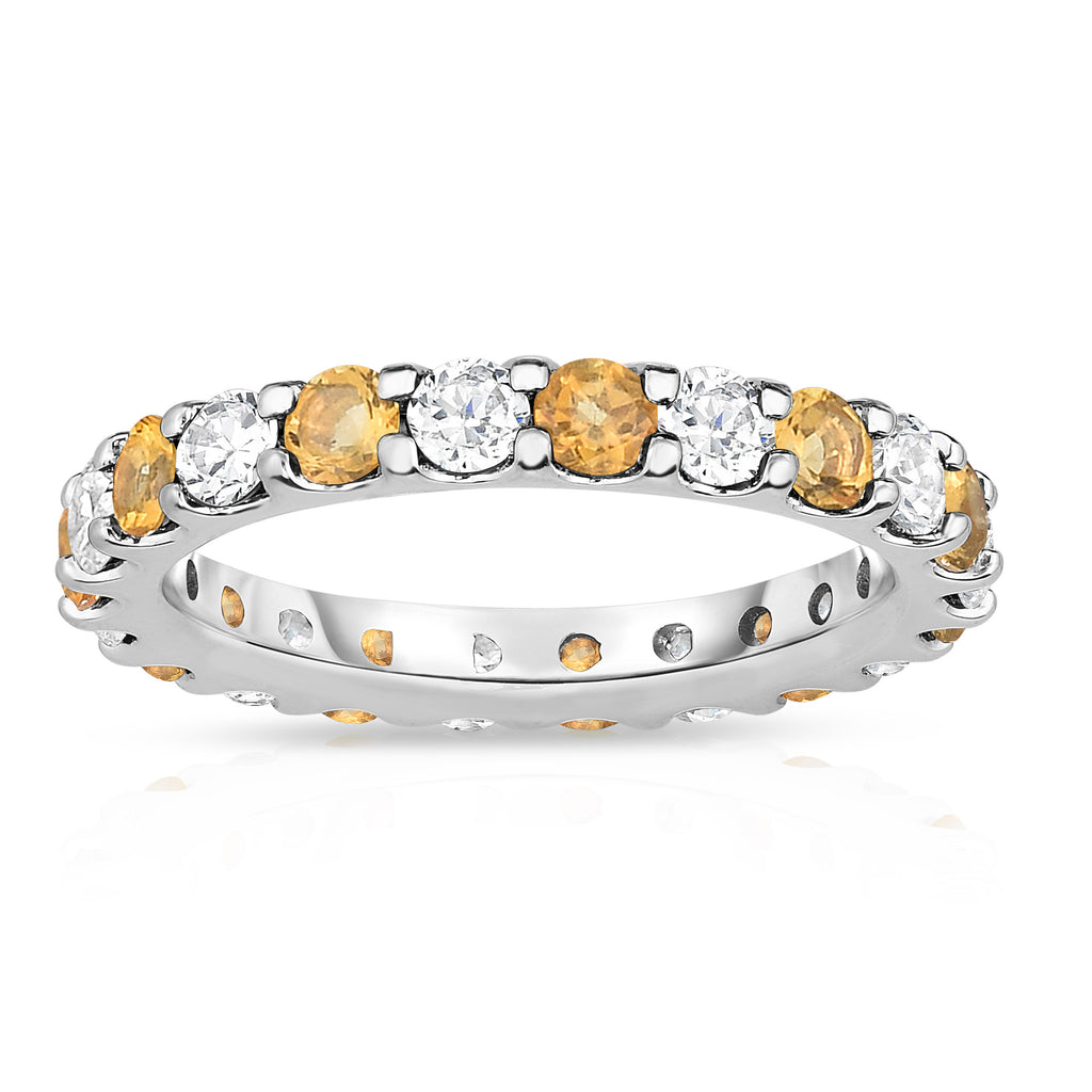 14K White Gold Citrine & Diamond (2.00-2.40 Ct TW, SI2-I1 Clarity) Eternity Band