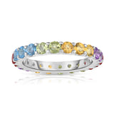 14K Gold Rainbow Multicolor Gemstone Eternity Ring