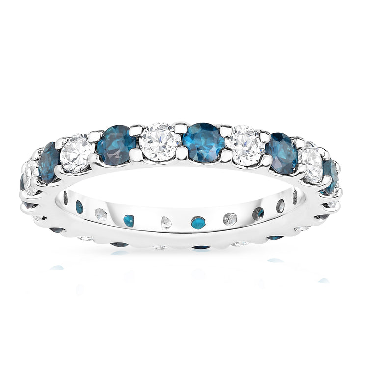 14K White Gold London Blue Topaz & Diamond (2.00-2.40 Ct TW, SI2-I1 Clarity) Eternity Band