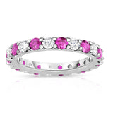 14K White Gold Pink Sapphire & Diamond (2.00-2.40 Ct TW, SI2-I1 Clarity) Eternity Band