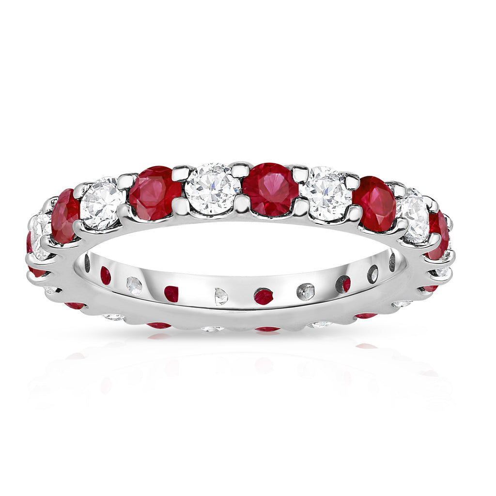 14K White Gold Ruby & Diamond (2.00-2.40 Ct TW, SI2-I1 Clarity) Eternity Band