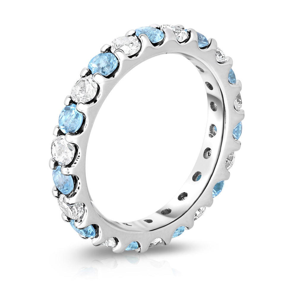 14K White Gold Swiss Blue Topaz & Diamond (2.00-2.40 Ct TW, SI2-I1 Clarity) Eternity Band