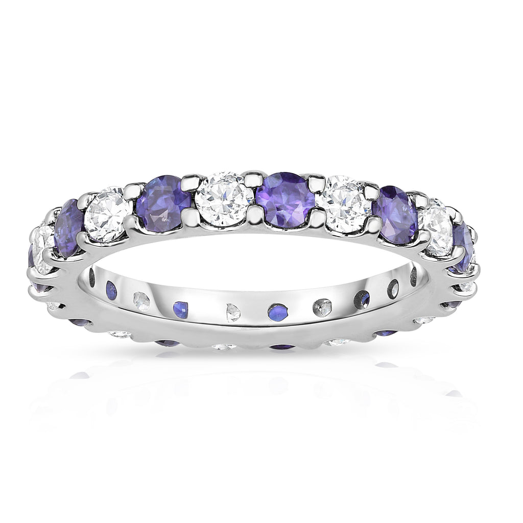 14K White Gold Tanzanite & Diamond (2.00-2.40 Ct TW, SI2-I1 Clarity) Eternity Band