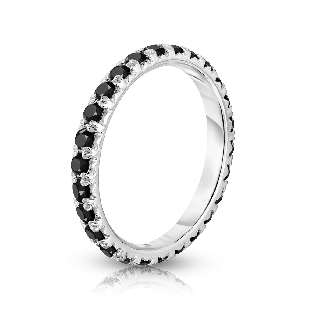 14K White Gold Black Diamond Eternity Band (0.90 Ct-1.10 cttw)