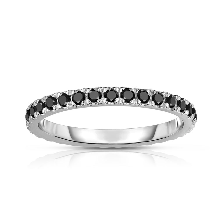 14K White Gold Black Diamond (0.64-0.75 Ct, G-H Color, SI2-I1 Clarity) Eternity Band