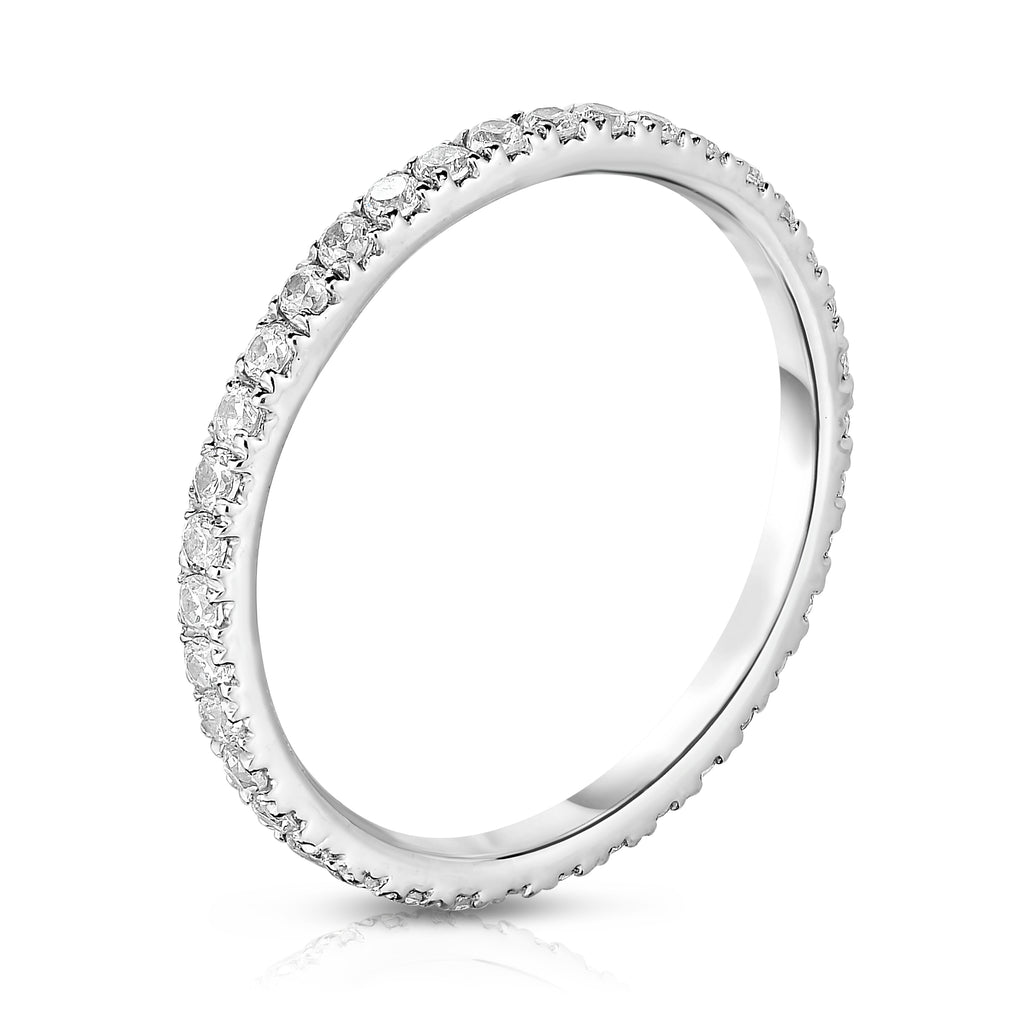 14K White Gold Diamond (0.64-0.75 Ct, G-H Color, SI2-I1 Clarity) Eternity Band