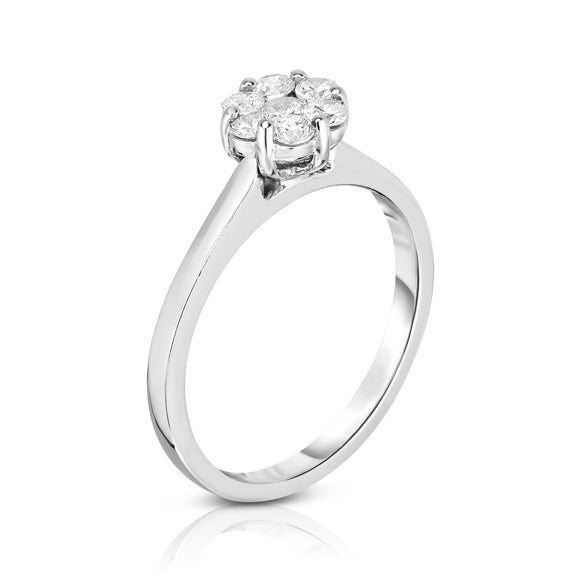 14K White Gold Diamond (0.50 Ct, G-H Color, I1-I2 Clarity) Cluster Ring