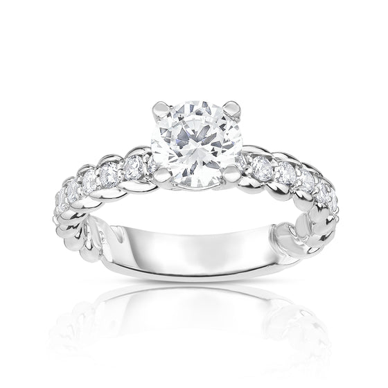 GIA Certified 14K White Gold Diamond (1.65 Ct, G Color, SI2 Clarity) Twisted Solitaire Ring