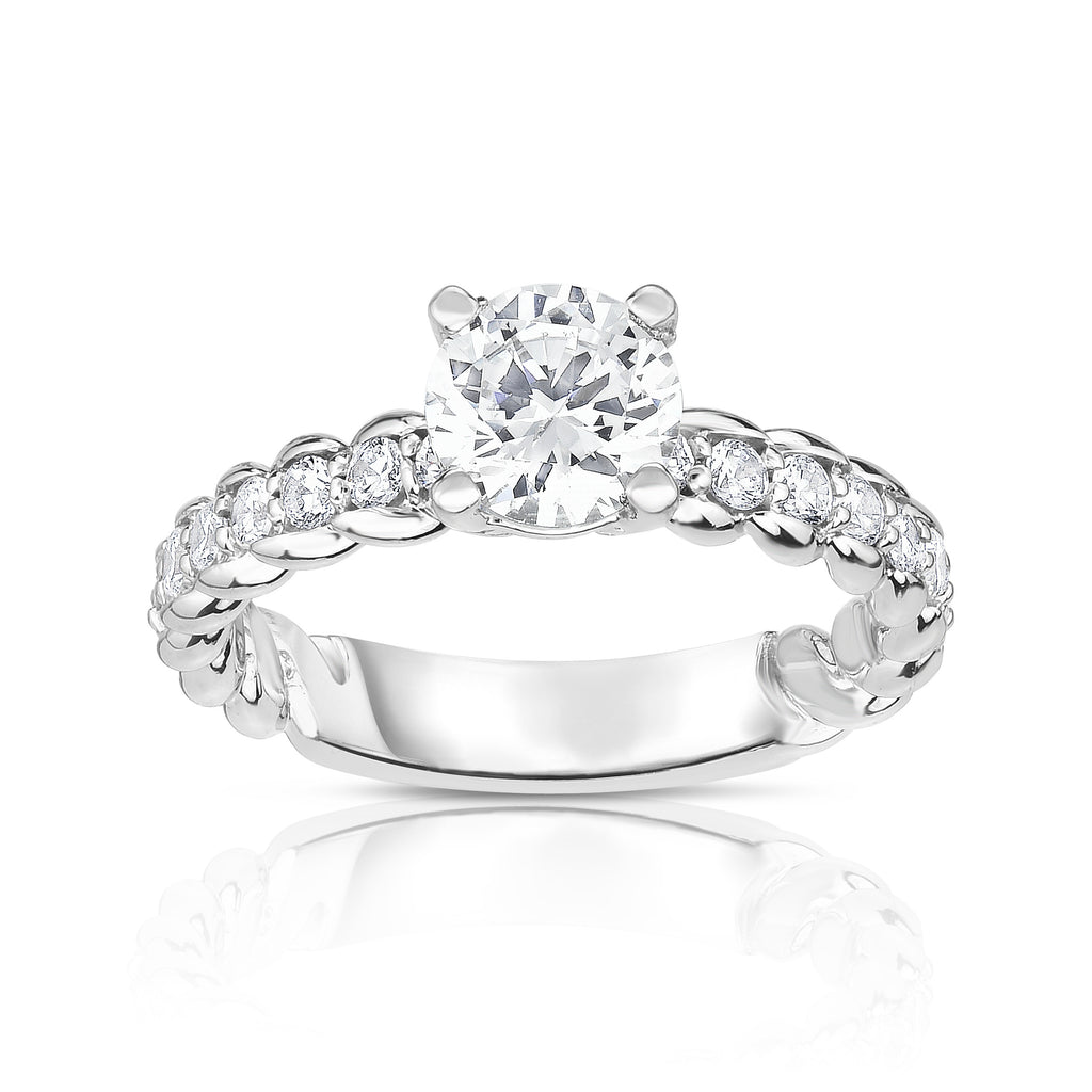 GIA Certified 14K White Gold Diamond (2.30 Ct, G Color, SI2 Clarity) Engagement Ring Set