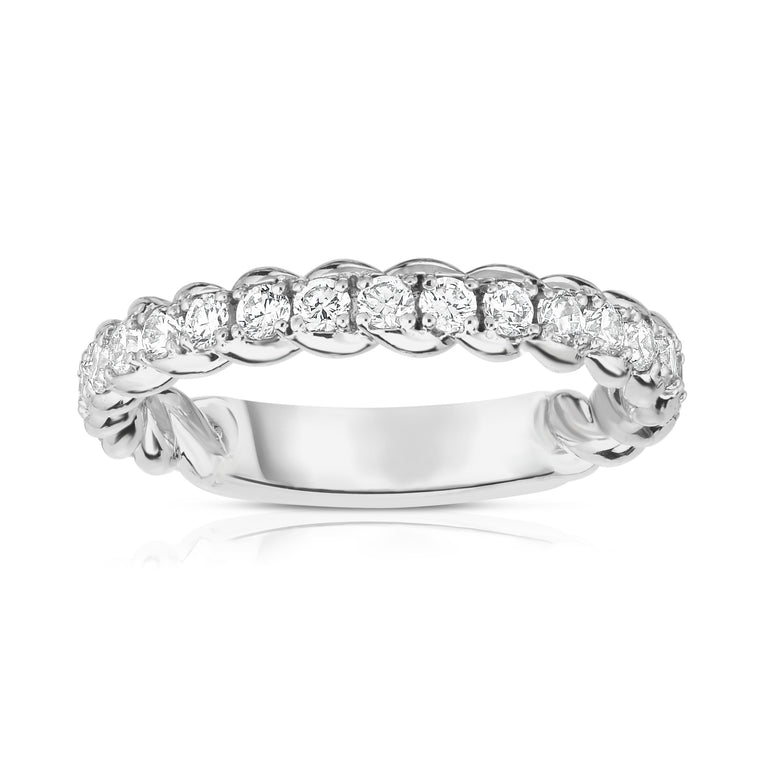 14K White Gold Diamond (0.68 Ct, G-H Color, SI2-I1 Clarity) Twisted Wedding Band
