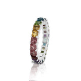 14K Gold Rainbow Multicolor Gemstone (3MM) Eternity Ring