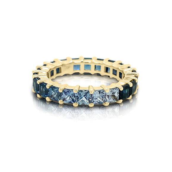 14K Gold Ombré Blue Sapphire (3MM) Eternity Ring