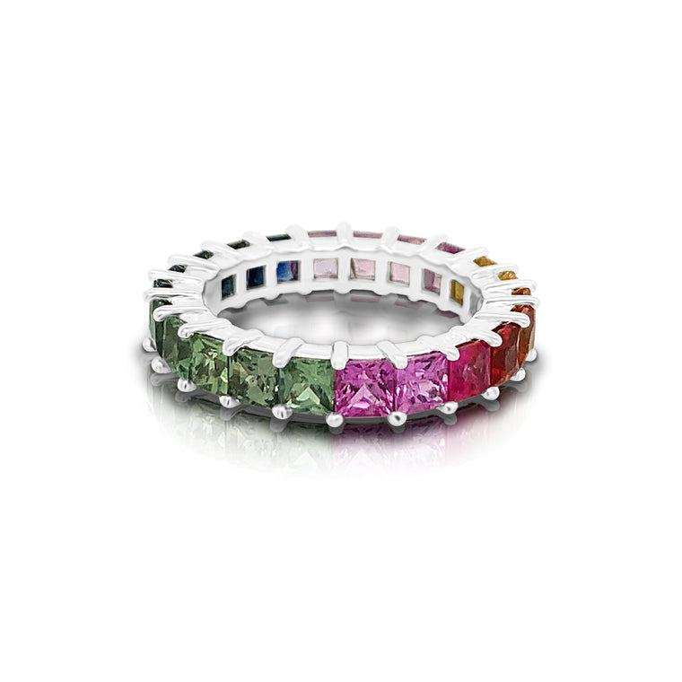 14K Gold Rainbow Multicolor Sapphire (3MM) Eternity Ring