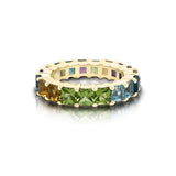 14K Gold Rainbow Multicolor Gemstone (3.5MM) Eternity Ring