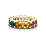 14K Gold Rainbow Multicolor Gemstone (4MM) Eternity Ring